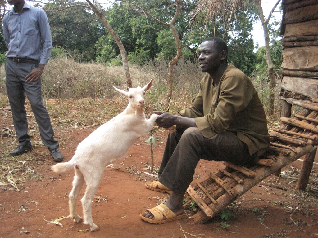 Kizito is a person living with AIDS in Mkumba village who was given a dairy goat to help supplement his nutrition. Photo: Sheilagh McGlynn