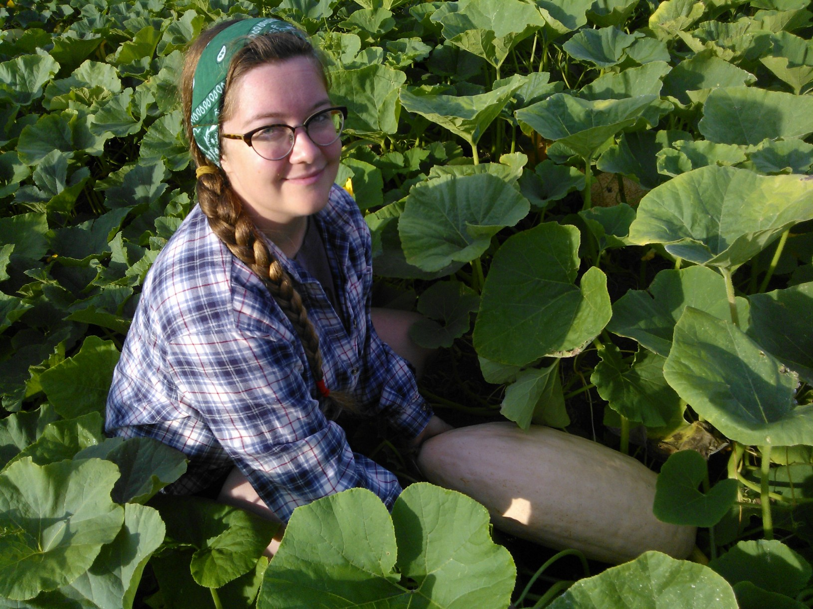 PWRDF Youth Council member Devon Goldie working at the Sorrento Centre Farm. Photo: Luc Steele