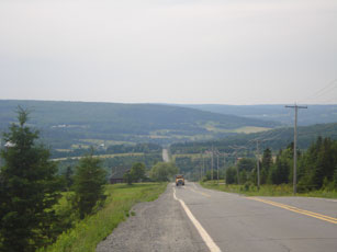 View from the top of the penultimate hill between Inverness and Thetford Mines, Quebec. Photo: Suzanne Rumsey