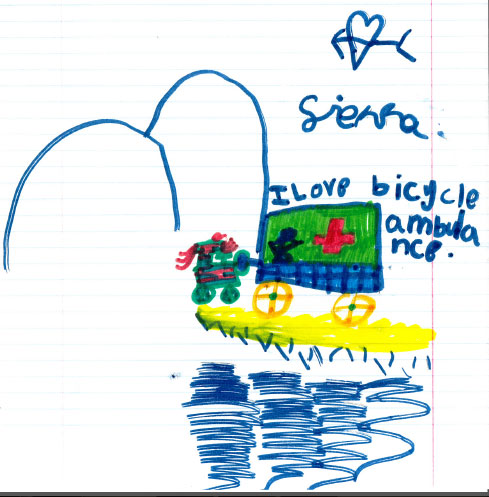 Bicycle Ambulance drawing by Sierra.