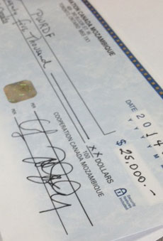 A cheque repaying a $25,000 loan from PWRDF to the Caixa Nampula. Photo: Simon Chambers