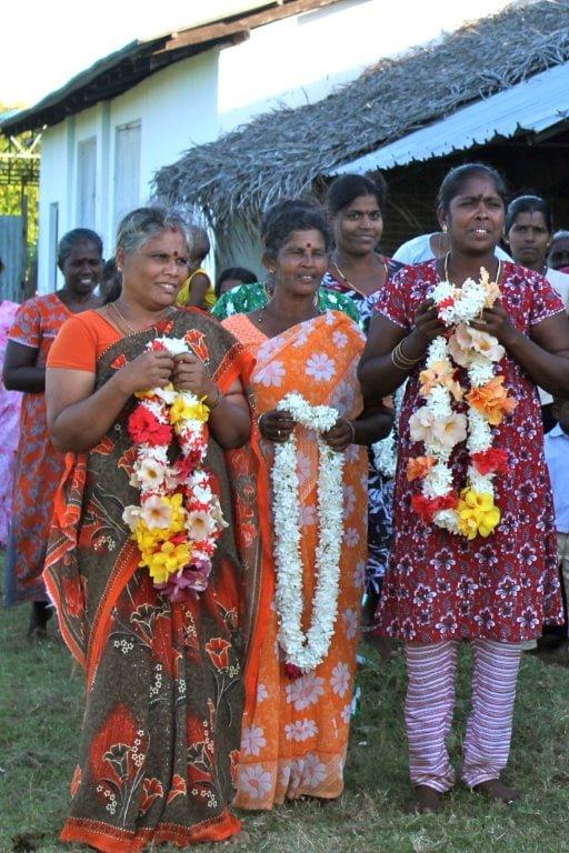 Returned Sri Lankan refugees welcome PWRDF Delegation in Northeastern Sri Lanka, March 2012. Photo: Carolyn Vanderlip