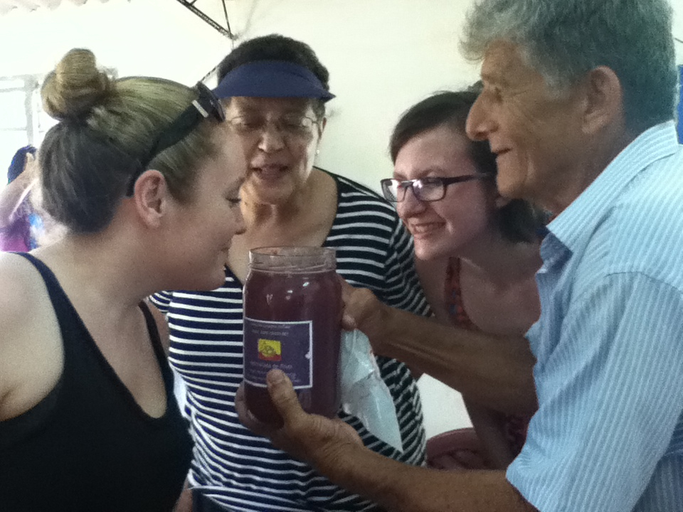 Delegation members experiencing the fruit preserve made by parishioners in Cuatros Esquinas. Photo: Sheilagh McGlynn