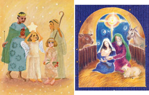 """Nativity Play"" (left) and ""Holy Family"" Christmas cards are now available."