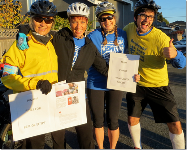 Members of the PWRDF team in Vancouver, BC pose at the Ride for Refuge. Photo: Contributed