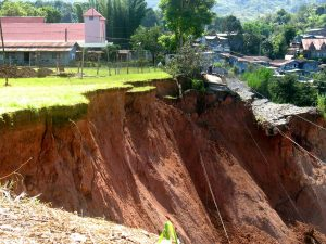 A land subsidence in Mankayan.  Photo: CPA
