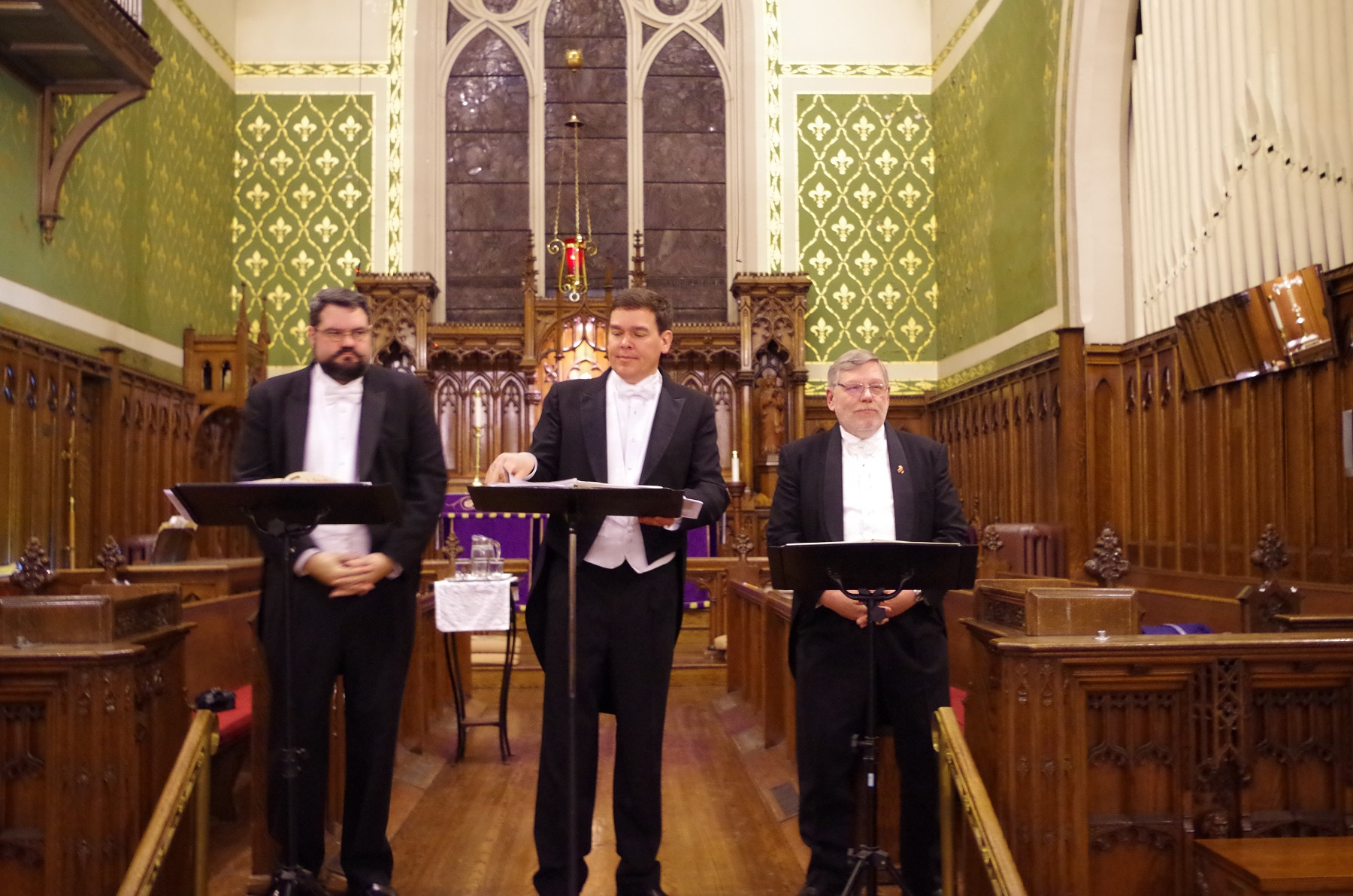 The Three Cantors: Bill Cliff, David Pickett and Peter Wall sang before a packed house in Brantford. Photo: Huron Church News