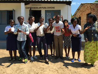 Members of the community theatre troupe at Meconta Secondary School in Mozambique. Photo: Richard Librock