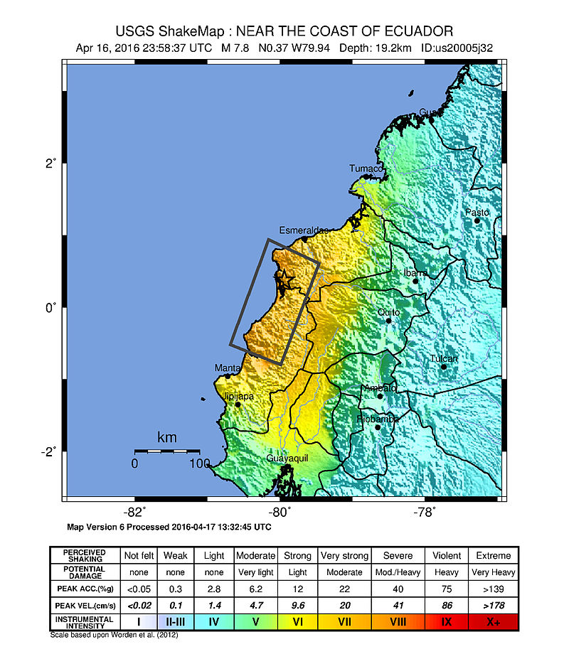 April 16, 2016 earthquake in Ecuador. By United States Geological Survey - http://earthquake.usgs.gov/earthquakes/eventpage/us20005j32#shakemap, Public Domain, https://commons.wikimedia.org/w/index.php?curid=48225555