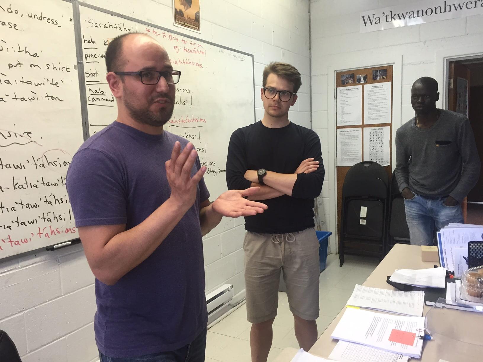 Mohawk teacher Akwiratekha Martin with Youth Council members Cody McKay, centre, and Emmanuel Abot. Photo: Murray MacAdam