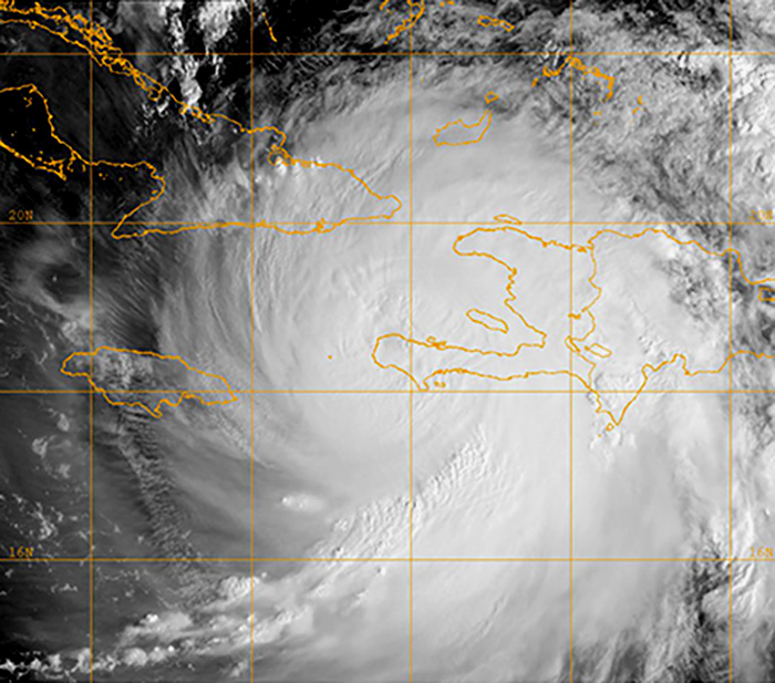 Hurricane Matthew satellite image from US Navy