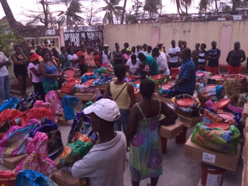 Distribution of supplies to people who were affected by Hurricane Matthew in Haiti. Photo: FCA