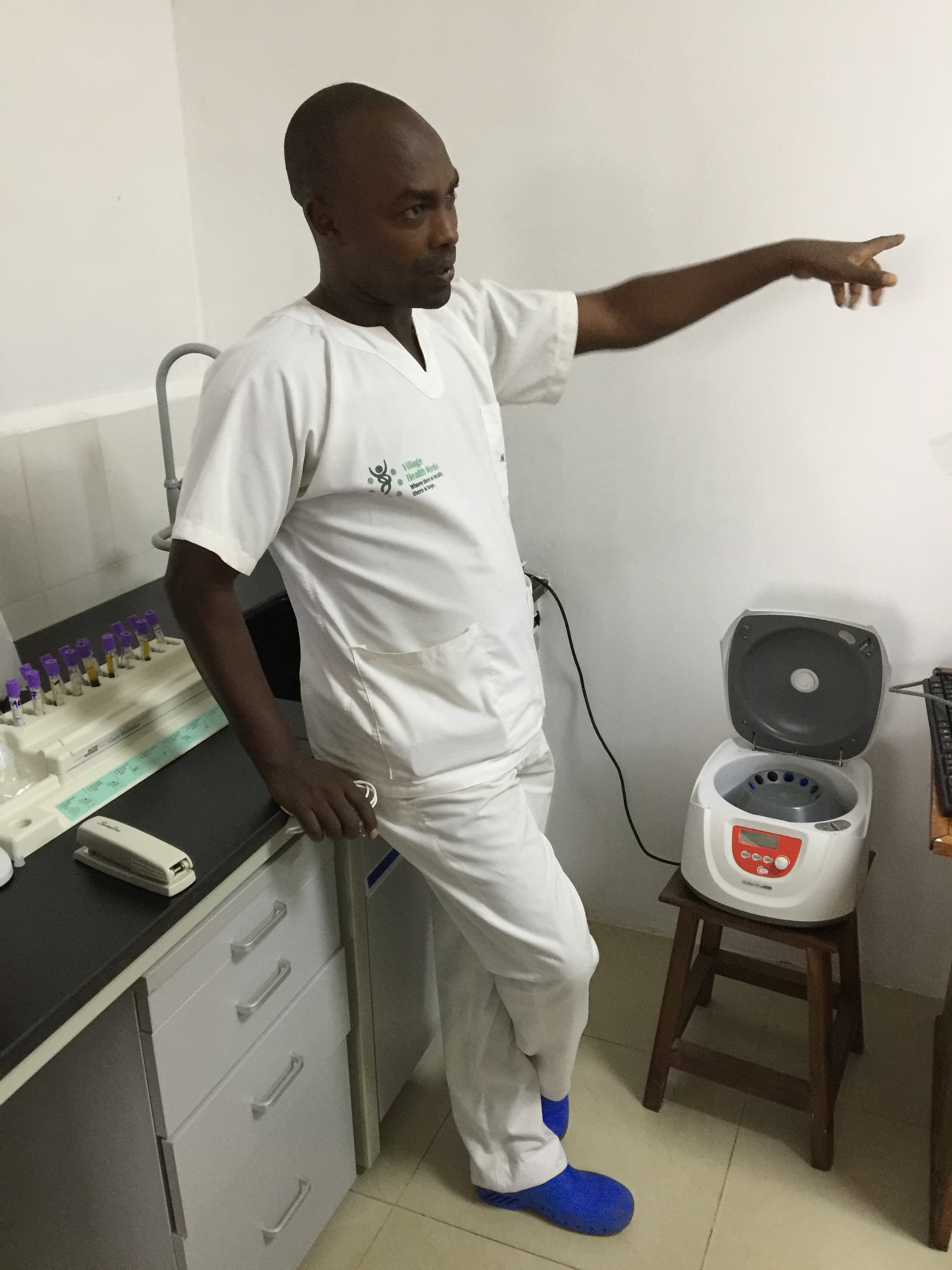 Cyrill Nitereka, head lab technician at VHW Clinic in Kigutu