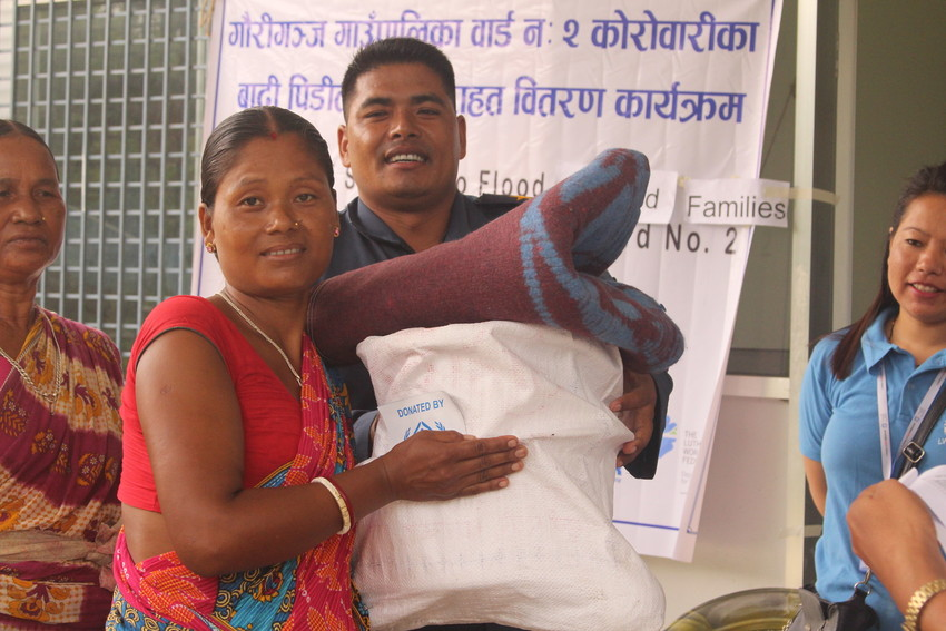 Relief material being delivered to the affected people in Jhapa. LWF Nepal photo