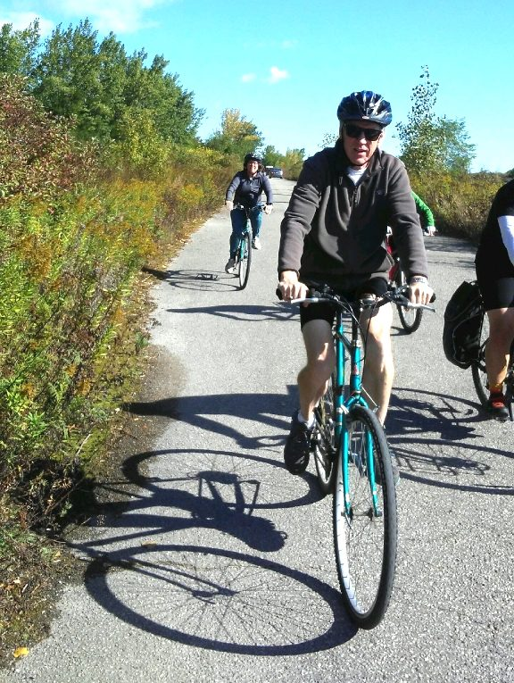 Archbishop Fred Hiltz, Primate of Canada, leads the Toronto team on its ride.
