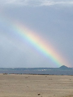 A rainbow over the beach in Bohol, Philippines. Photo: Adele Finney