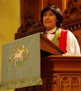 Bishop Griselda Delgado del Carpio of the Episcopal Church of Cuba speaking at St. Peter's, Erindale in 2013. Photo: Simon Chambers