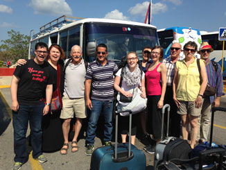 PWRDF says farewell to Iran, the driver of our Cuban Pentecostal bus at the Varadero airport. Photo: Suzanne Rumsey