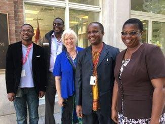 Left to right - Joao Miguel (EHALE - Mozambique), Desire Ndagijimana (Diocese of Bujumbura - Burundi), Adele Finney (PWRDF), Bahati Msalasye (Diocese of Masasi – Tanzania), Olinda Magaia (EHALE).