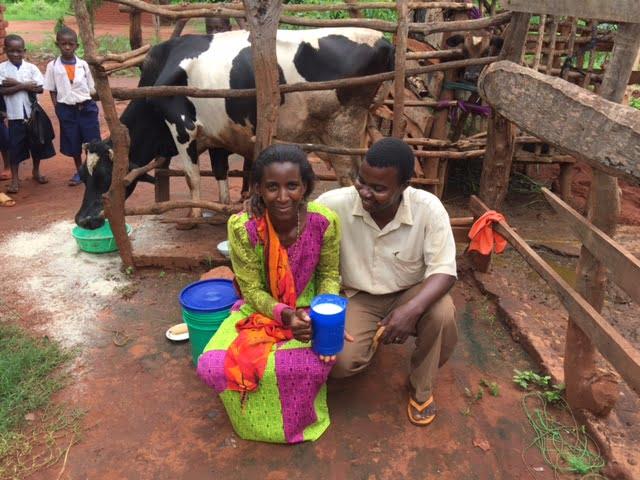 Novatus and Selina with their cow. Photo: Richard Librock