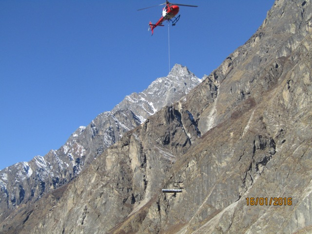 Airlifting construction supplies to Langtang in Nepal. Photo: Langtang Conservation Committee