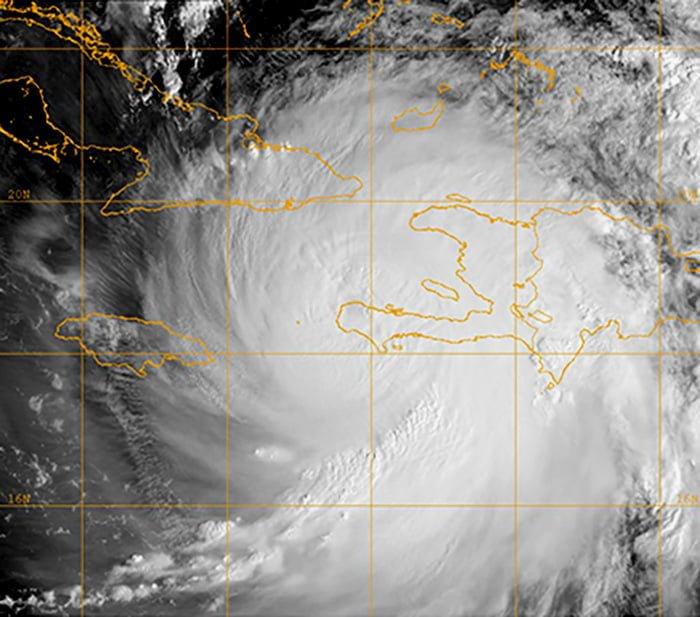 Hurricane Matthew satellite image from US Navy