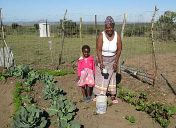 Veliswa and her granddaughter working in their family garden. Photo: Jeanine Cudmore