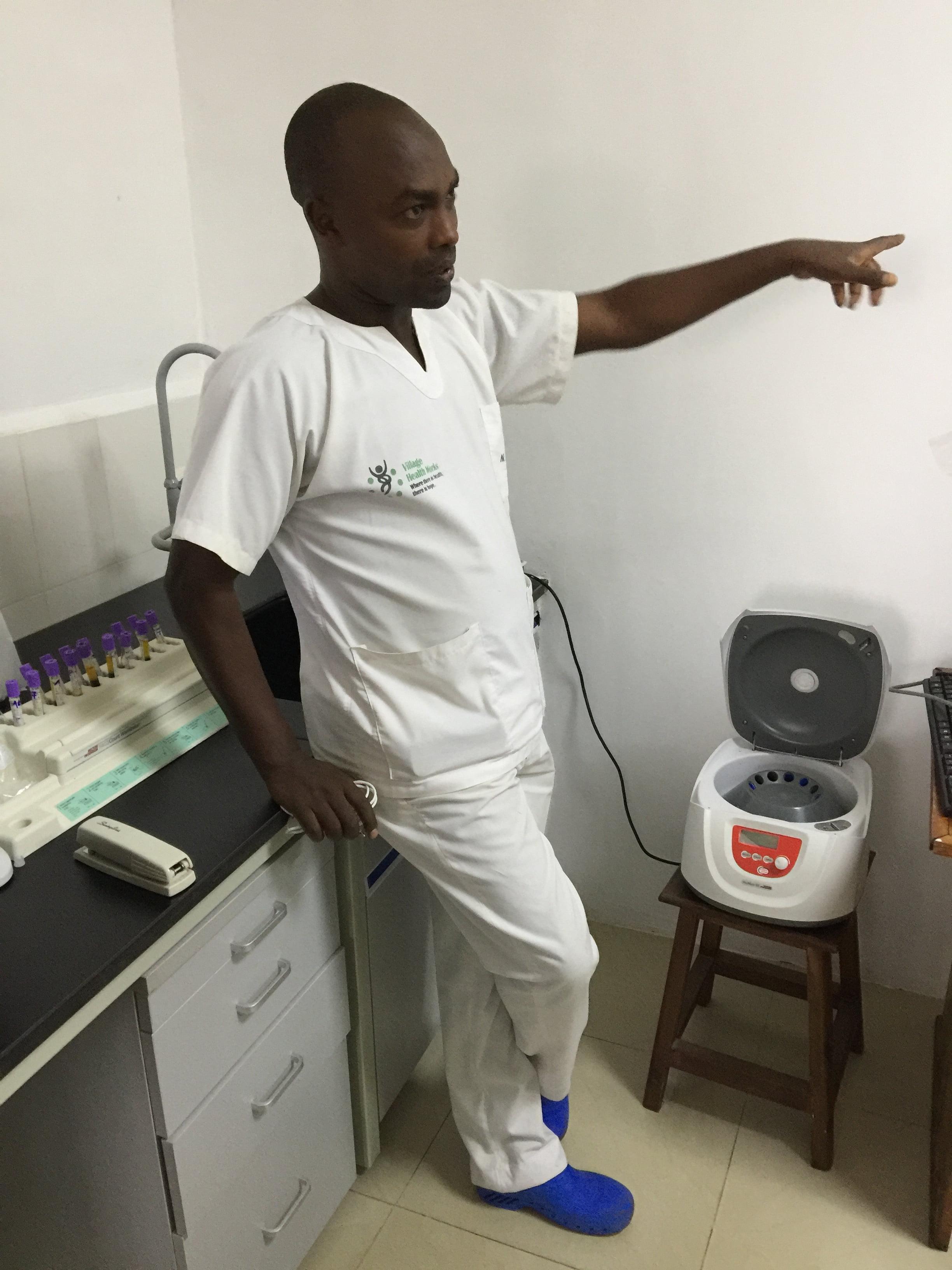 Cyrill Nitereka, head lab technician at VHW Clinic in Kigutu