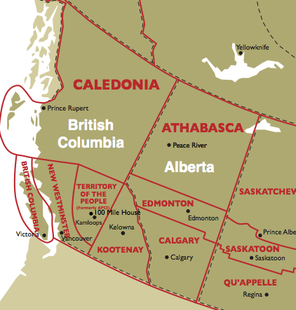 Western Canada showing Anglican Dioceses.