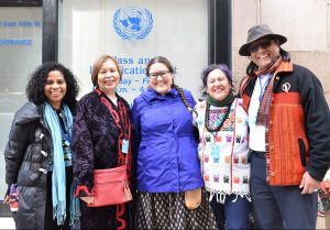 (left to right) Lina Berrio from Kinal in Mexico, Monica McKay from Ryerson, Cheryl-lee Bourgeois, Patricia Yllescas from Kinal and Jose Zarate at the UN.