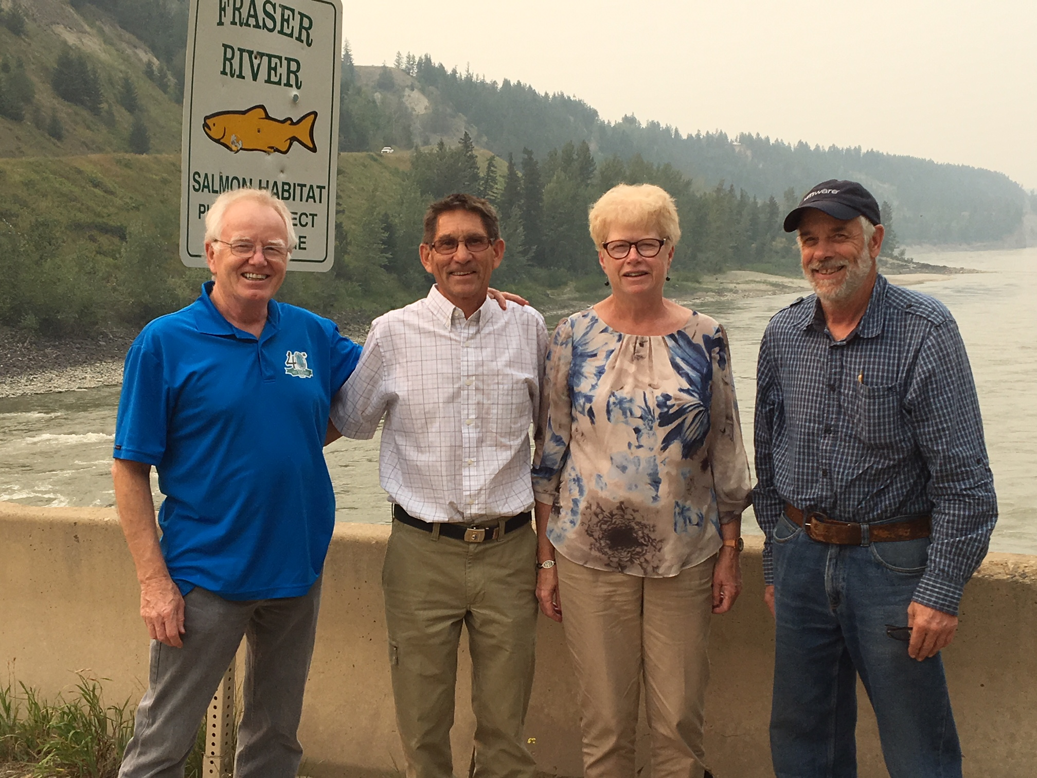 (left to right) Brian LaPointe, Danny Moxey, Sue Moxey and Bill Watt near where the fire jumped the Fraser River in 2017.