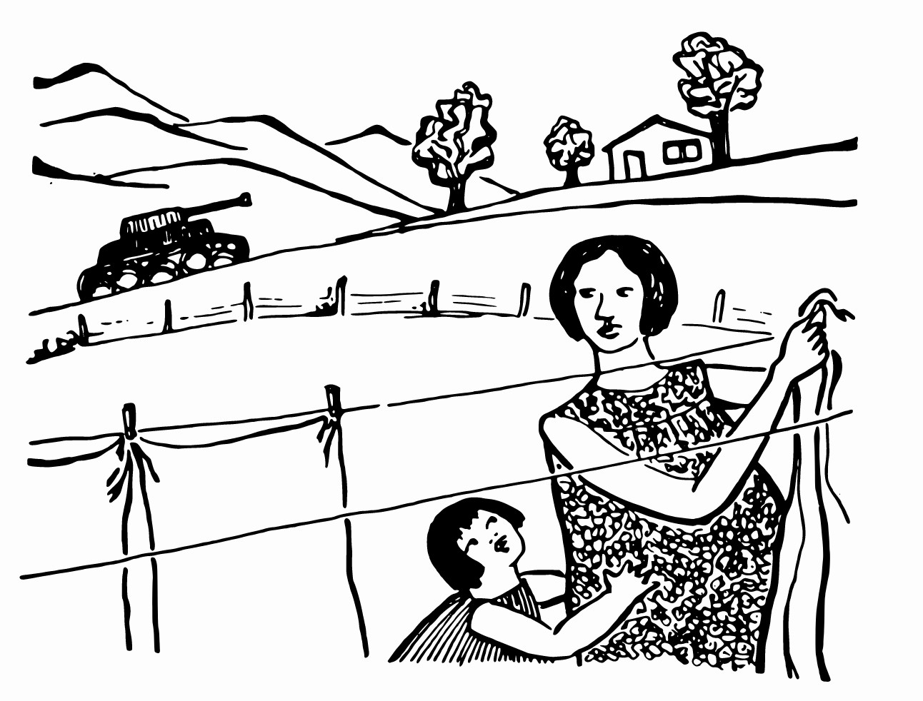 Mother and child hanging clothes while a tank rolls by in the distance, by Rini Templeton